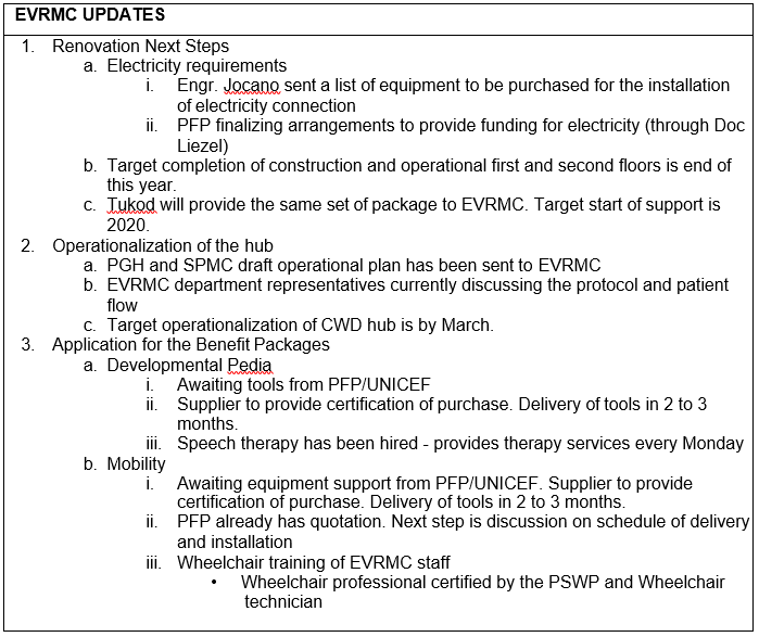 EVRMC Updates